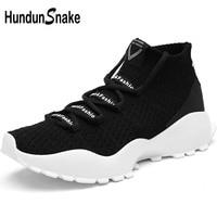 Hundunsnake High Top Running Socks Sneakers Men Black Mens Sports Shoes Sport Knit Running Shoes For Men Tennis Masculino T646