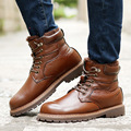 High Quality Men's Leather Boots 2016 Luxury Brand Men Shoes Winter Plush Warm Martin Boots Man Genuine Leather botas X072909