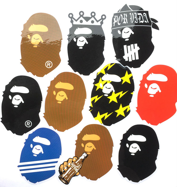 500 pcs APE bape a bathing figure stickers A Bathing Ape in Lukewater cartoon PVC phone car glass stickers free shipping