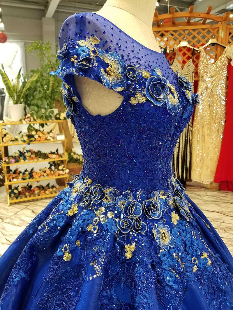 LS0551 royal blue evening dress long o-neck cap sleeve lace up tulle back cheap satin mother of bride dress abendkleider lang