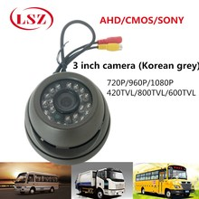 LSZ  Metal Hemisphere Gray Car Camera Monitoring Probe NTSC / PAL System Factory Direct IR Lamp 960P HD Pixels BUS