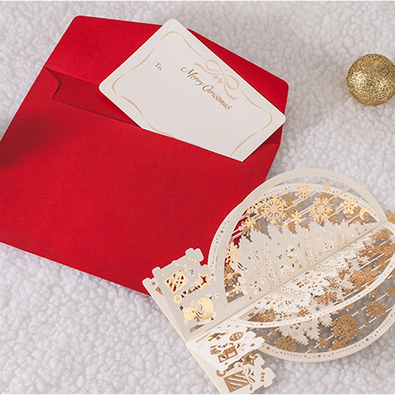 (10 pieces/lot) New 3D Pop Up Greeting Card Laser Cutting Merry Christmas Ivory Color Christmas 3d Cards With Envelope GX6163 30pcs in one postcard take a walk on the go dubai arab emirates christmas postcards greeting birthday message cards 10 2x14 2cm