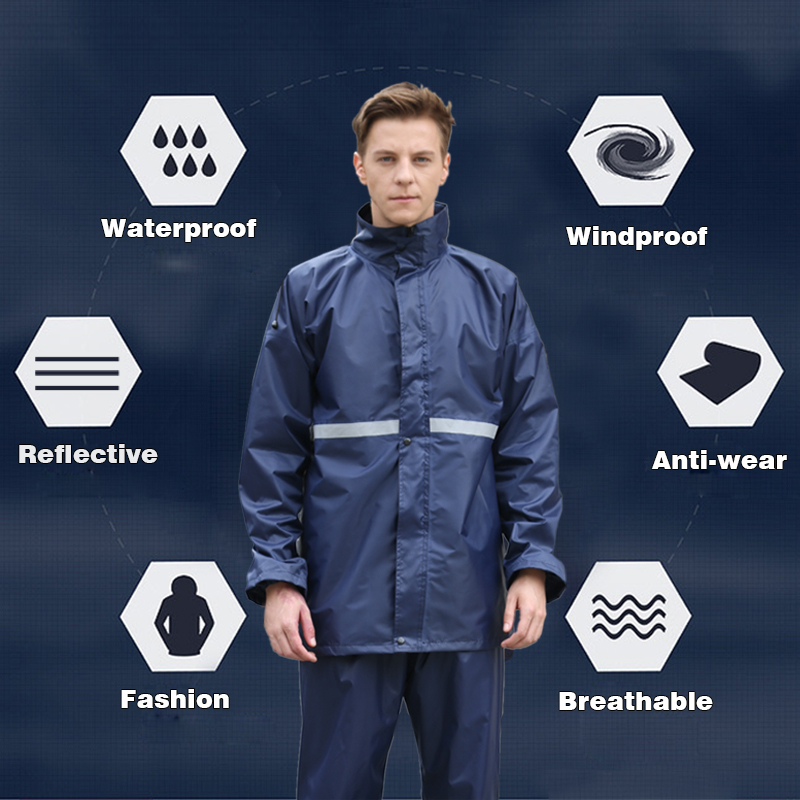Rainfreem Raincoat Suit Impermeable Women/Men Hooded Motorcycle Poncho Motorcycle Rainwear S-6XL Hiking Fishing Rain Gear 4