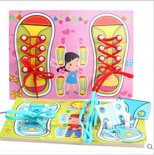 Baby Kids Learn Tie Shoe Lace Toy Teaching Toy Wooden Puzzles Board