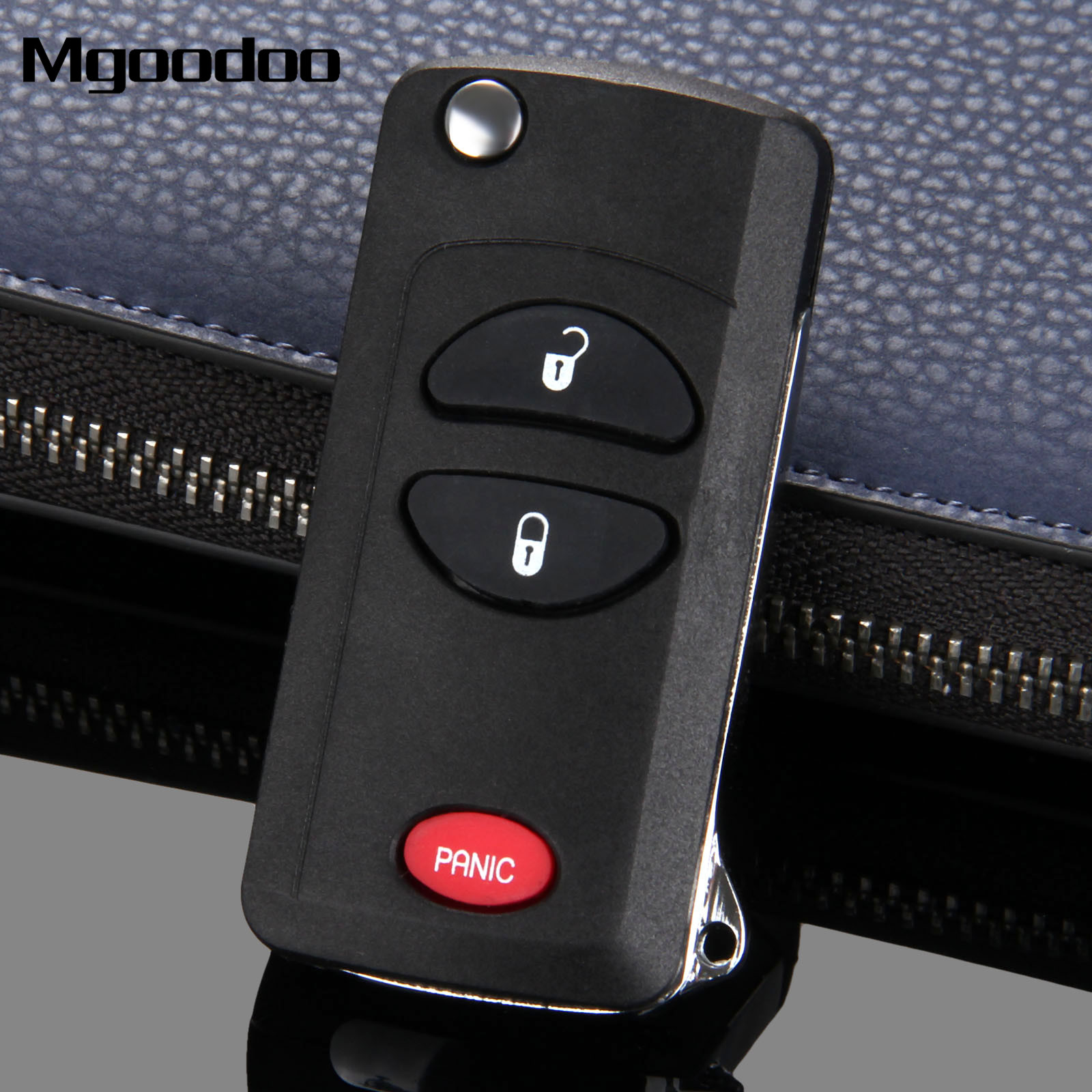 Mgoodoo 2+1 Panic Button Remote Flip Folding Key Shell Case Car-covers For Chrysler Voyager Town & Country PT Cruiser Dodge Jeep