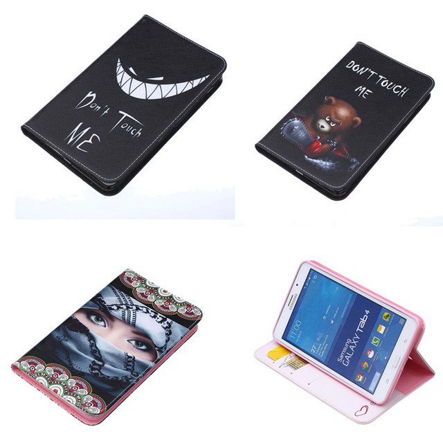 BF -U Leather Flip Holder Protective Case Cute Design Card Pocket For Samsung Galaxy Tab 4 7.0 T230 T231 T235 SM-T230NU
