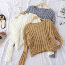 Fluffy Sweater Cashmere Fuzzy Crop Top Sweater Women Pull Femme Hiver Christmas Jumper 2018 Korean Pullover Knitted Jersey Mujer fuzzy cropped sweater