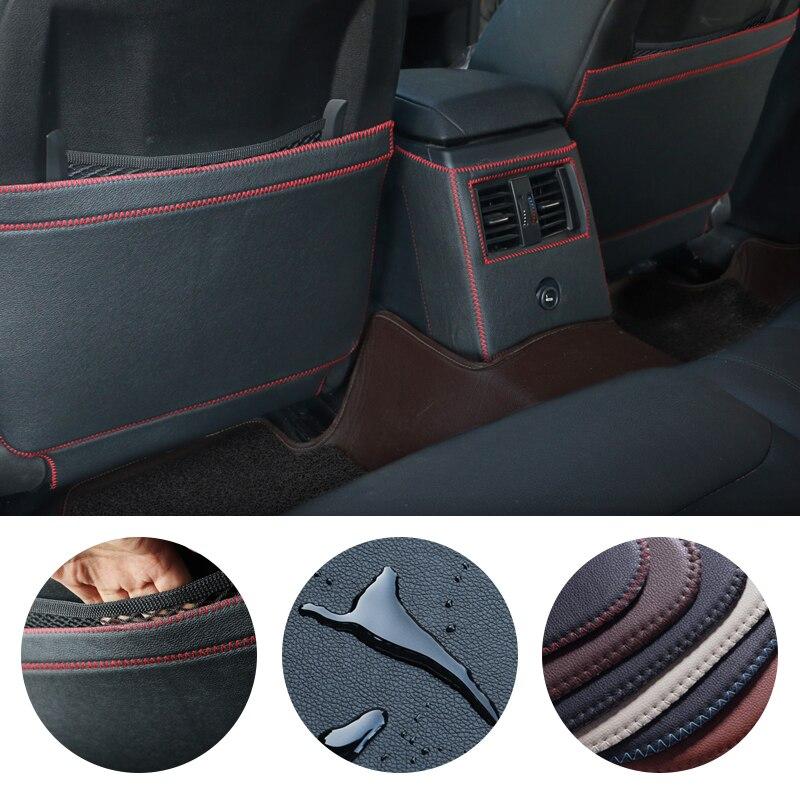 3X Caixa Apoio de Braço Central Traseiro Encosto Do Assento Anti-Kick Anti-Sujo Proteção Pad Mat para BMW 3 4 série 3GT E90 E91 F30 F31 F34 F32