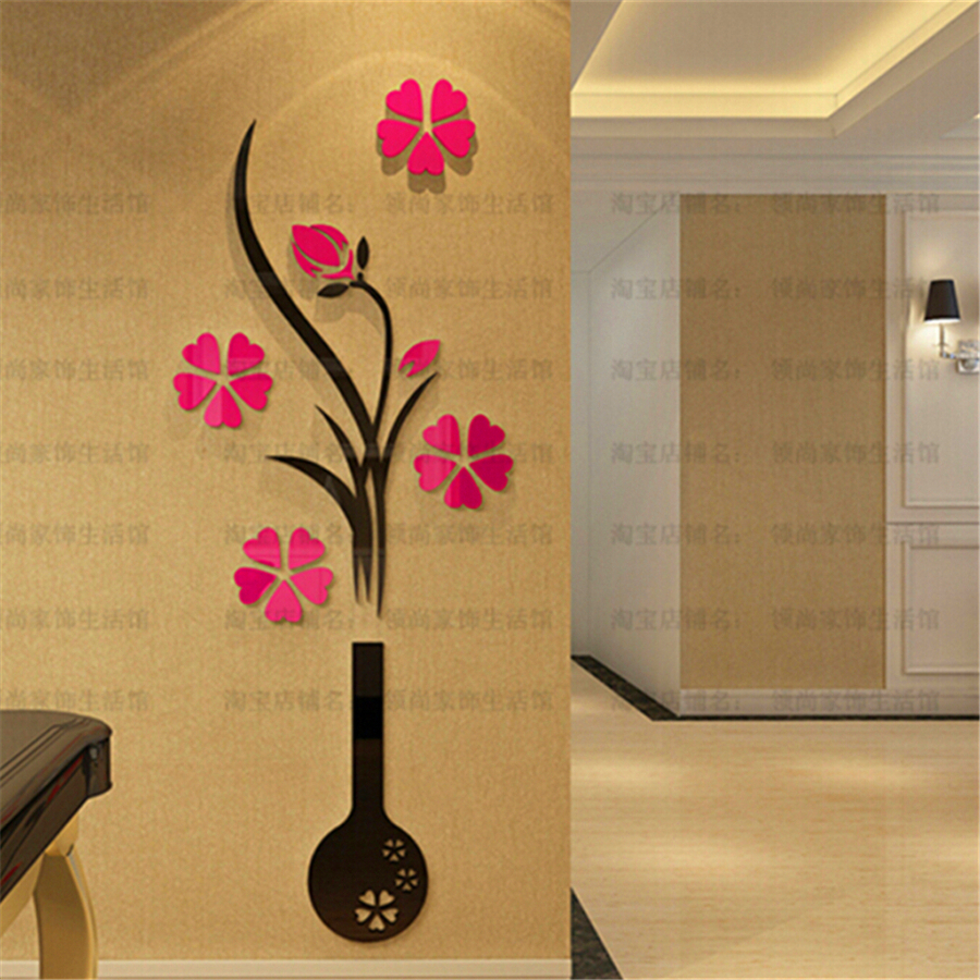 2015 new diy crystal acrylic 3d wall stickers vase plum flower 2015 new diy crystal acrylic 3d wall stickers vase plum flower mirror wall sticker decal vintage home decor christmas gift 3280 in wall stickers from home reviewsmspy