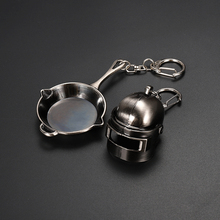 Game PUBG Keychain Playerunknown Battlefield Level 3 Helmet Backpack Saucepan Alloy Cosplay Props Accessories