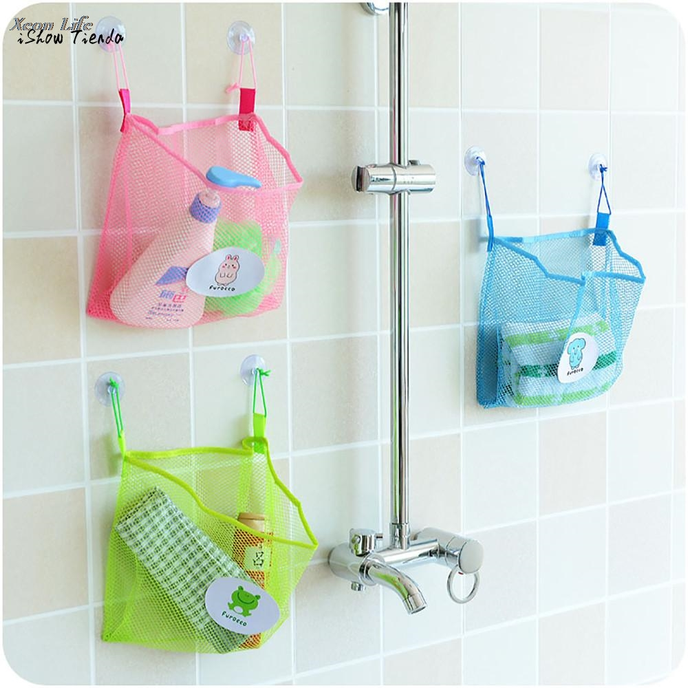ISHOWTIENDA 2017 New 25x26cm Baby Kids Bath Time Tidy Storage Toy Suction Cup Bag Mesh Bathroom Organiser Net