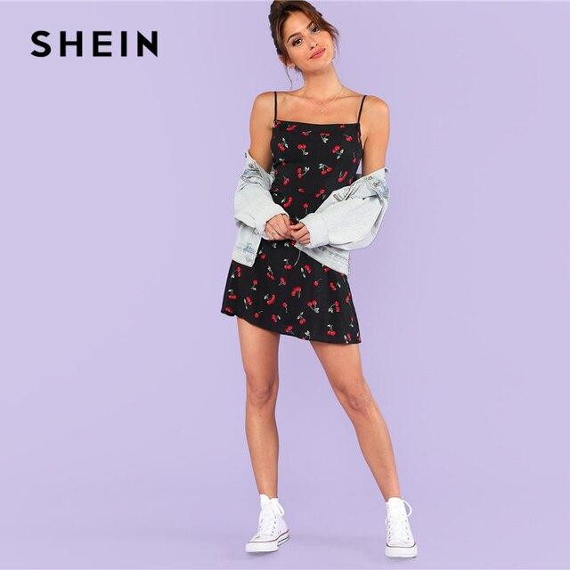 SHEIN Allover Cherry Print Cami Dress Women Spaghetti Strap Sleeveless Zipper Weekend Casual Dress 2018 Loose Short Dress 3