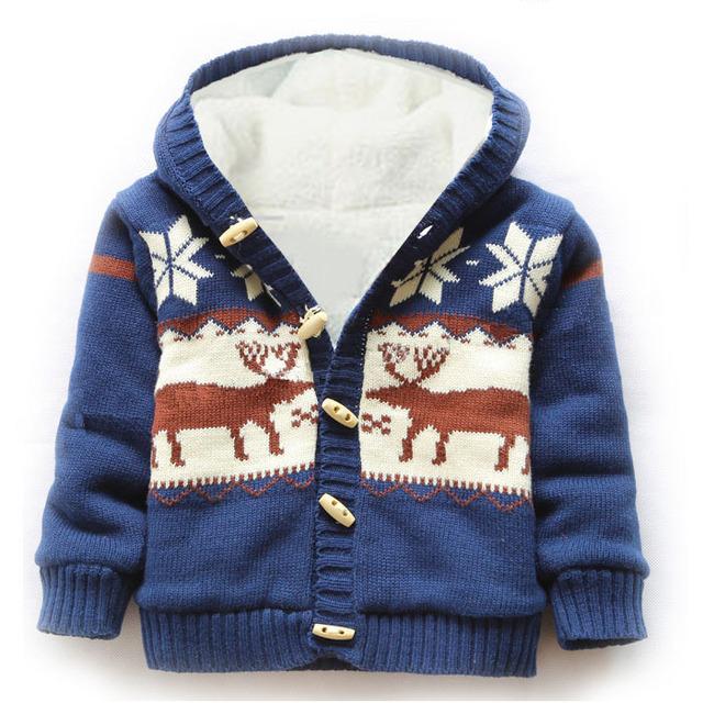 Bebé desgaste nieve abrigo Gruesa Ropa de Escalada Recién Nacido Niños Niñas suéter Caliente Chaqueta de invierno Ciervos de la Navidad Con Capucha Outwear