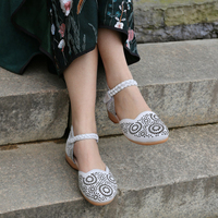 Women Leather Sandals White Low Heel Retro Shoes Summer Embroidery Genuine Leather Women Sandals Ankle Strap Glove Shoe Handmade