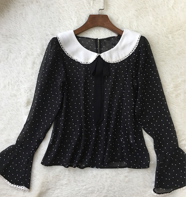 Women Black Wavelet Dot Print Slight Perspective Bow Peter Pan Collar Long Flare Sleeve Sweet Chiffon Blouse Top