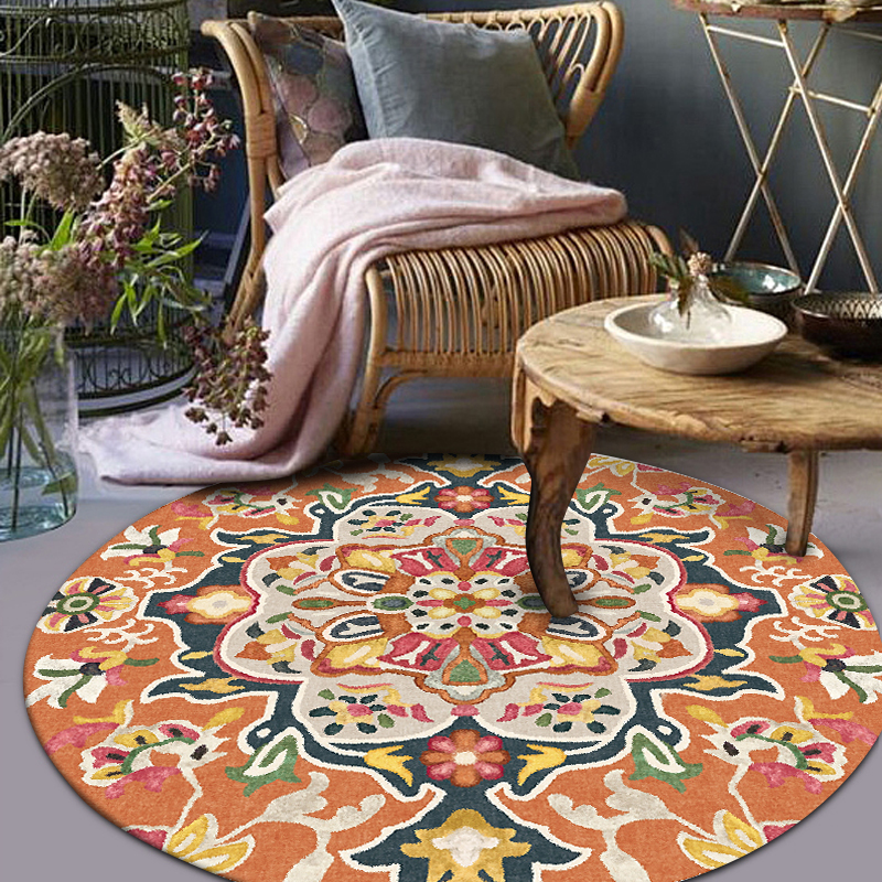 Ethnic Mandara Flowers European Floral Fashion Round Living Room Parlor Bedroom Decorative Carpet Area Rug Desk Chair Door Mat