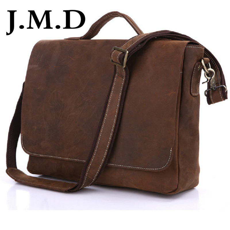 J.M.D New Arrival Crazy Horse Leather Men's Messenger Bag Briefcases Laptop bag Handbag Cross Body Bags 7108