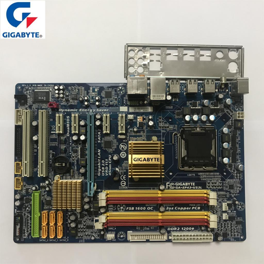 Used Gigabyt GA-EP43-US3L 100% Original Motherboard LGA 775 DDR2 Desktop Computer Mainboard 16GB EP43-US3L EP43 US3L Boards P43