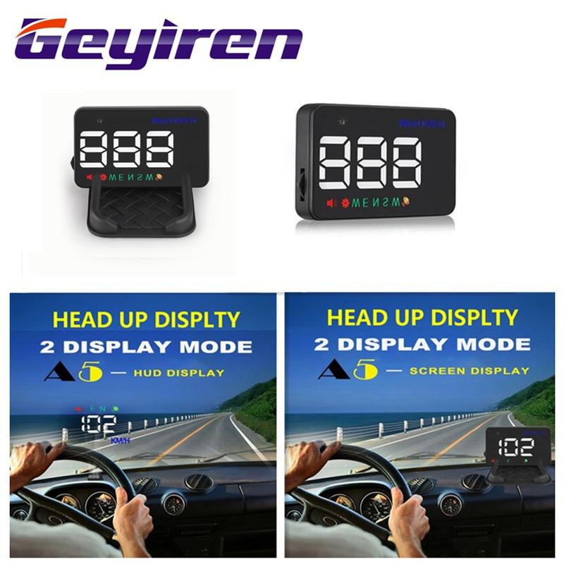 Geyiren a5 gps hud 3.5 polegada cabeça do carro up display brisa projetor velocidade excessiva velocímetro digital gps 2 exibe modo hud 2017