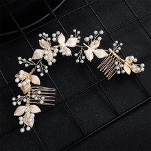 Elegant Wedding Hair Comb Leaf Women Bridal Hair Accessories Jewelry Headband Pearl Handmade Headpiece недорого
