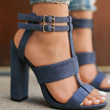 New Fashion Summer High Heel Sandals for Women Casual Open Toe Buckle Ladies Office Work Sandalias Shoes 35-42 Plus Size XL376 цены
