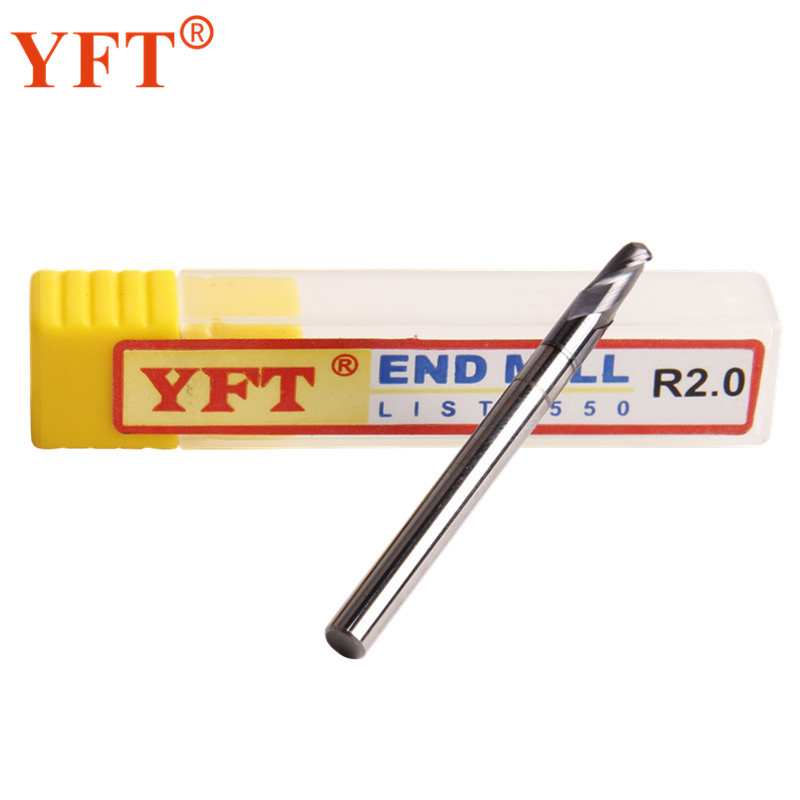 YFT 2-blade Carbide Ball End Mills Radius 2mm HRC 55 Degrees Tungsten Carbide Milling Cutters Router Bit CNC Tools