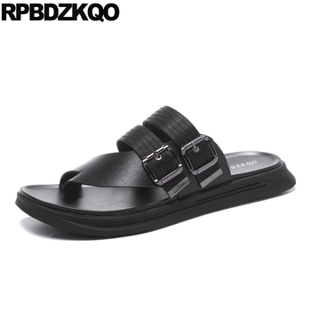Beach Shoes Open Toe Slides Flat Loop Strap Famous Brand Men Gladiator Sandals Summer Native Casual Black Slippers Roman Leather