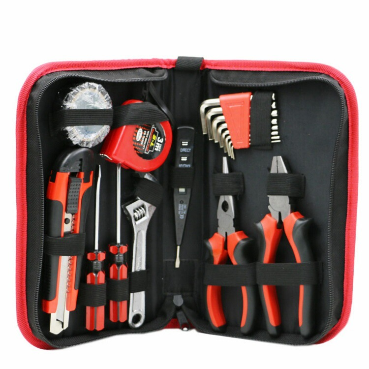18pcs/lot household hand tool set with oxford tool bag contains knife plier screwdriver wrench test pencil insulating tape 20pcs m3 m12 screw thread metric plugs taps tap wrench die wrench set