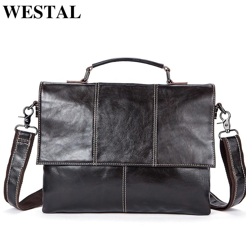 WESTAL Genuine Leather messenger bag men Handbags Fashion Business Laptop Briefcases new designer Shoulder Tote Crossbody