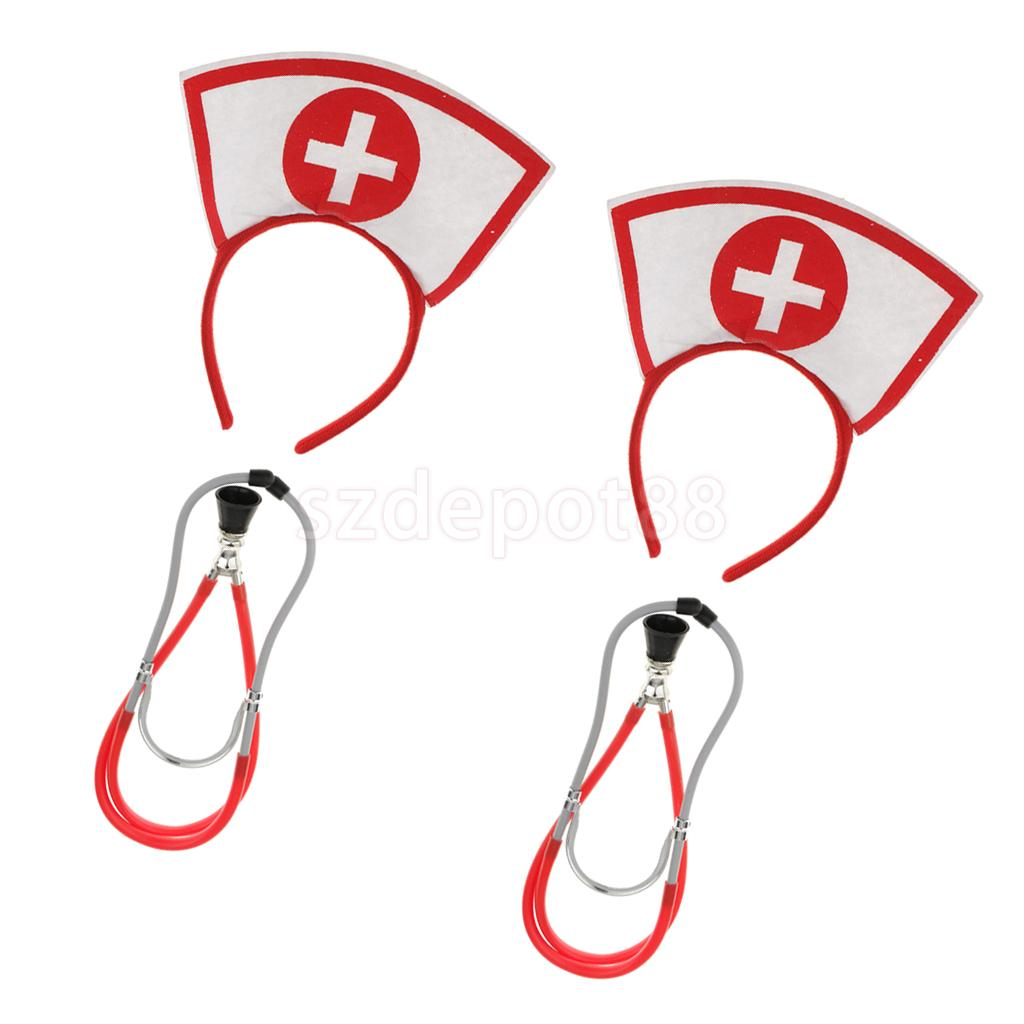 Set of 4 Pieces Cross Red Nurse Doctor Headband Stethoscope Toy Fancy Dressing up Hen Night Party Cosplay Costume Props