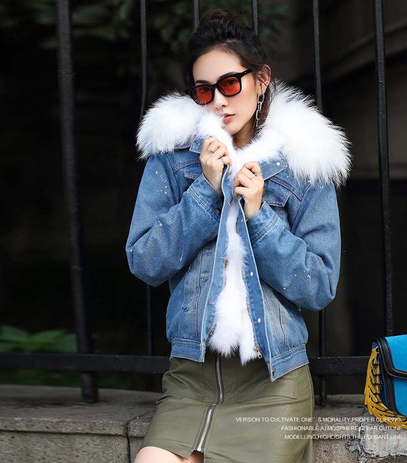 Real Natural Fox Fur Collar Women Spring Winter <font><b>Jeans</b></font> Coat Denim Fox Fur Liner Short Casual Cowboy Outwear Jacket DHL free shipp