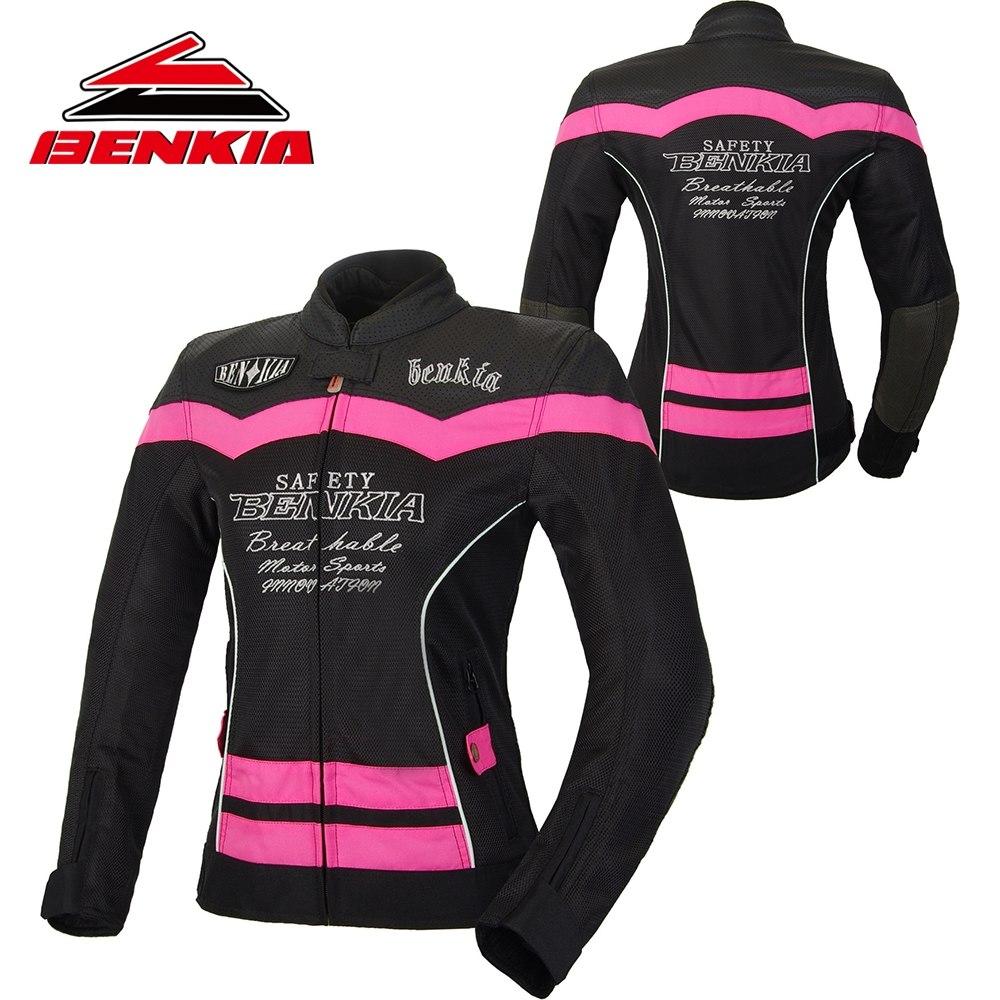 BENKIA Moto Giacca Giacca Moto Da Corsa Della Maglia di Estate Respirabile Vestito di Ventilazione di Guida Moto Giacca Donne JS-W55