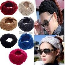 1Pc New Hot Fashion Crochet Twist Knitted Headwrap Headband Winter Warmer Hair Band 12 Colors Fashion head band Drop Free
