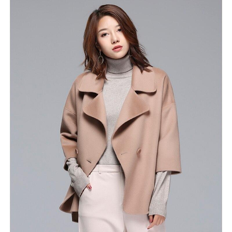 Femmes Laine Hiver Colour Camel Cachemire 2018 Manteau caramel Main D'hiver Cocon Pure Double face Mode De Pink Nouveau Long 456qxxHw