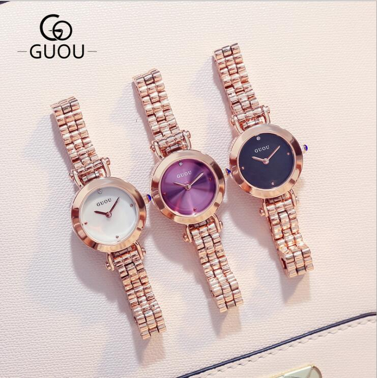 GUOU New Watch Top Brand Luxury Rose Gold Women Watches Fashion Exquisite Ladies Watch Women Gift for girl saat relogio feminino top brand contena watch women watches rose gold bracelet watch luxury rhinestone ladies watch saat montre femme relogio feminino