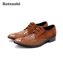 ef95f5309 Batzuzhi Tipo Italiano Homens Sapatos Da Moda Lace-up Apontou Sapatas De  Vestido De Couro Marrom de Camurça Oxfords Zapatos Homb.