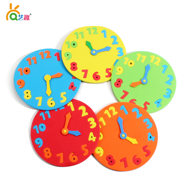 5 PCs Multi Color Diy Handmade Eva Children Clocks Kids Child Kindergarten School Art Craft