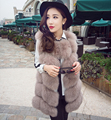2016 Autumn Winter New Women High Quality Faux Fox Fur Vests Female Sleeveless Long Fur Vests Patchwork Fur Waistcoat W438