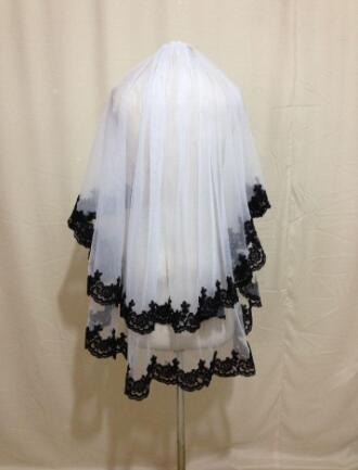 elbow white/ivory 2 T Tulle Wedding Bridal Veil With Black Lace edge veil+comb