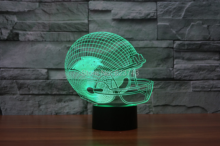 Carolina Panthers American Football cap helmet NFL 3D LED Color Changing Decor night light by Touch induction control and AAA
