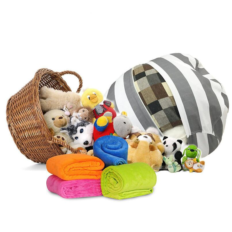Portable Clothes Storage Bag Kids Storage Bean Bags Plush Toys Beanbag Chair Stuffed Animal Room Mats 63cm LX2617