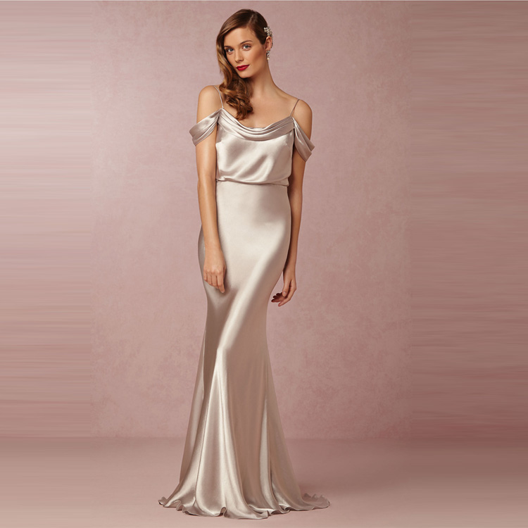 f9713cceffeb Silver Slik Satin Long Bridesmaid Dresses Cheap Modest Mermaid Junior Bridesmaids  Gowns Sexy New Arrive Hot Sale Plus Size-in Bridesmaid Dresses from ...