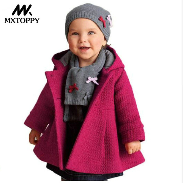 MXTOPPY Baby Girl Coat 2018 Long Sleeve Cotton Solid Fashion Jackets For Girls Hooded Newborn Windproof Outerwear Baby Clothing