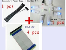 Big Promotion 4 PCS PCI E Express 16X Riser + Motherboard power supply adapter cable+USB HUB 7 Port for BTC
