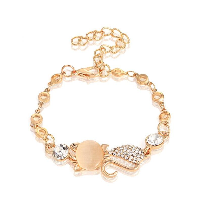 IMucci Schöne Katze Anhänger Armreif Frauen Damen Elegante Kristall Opale Strass Armreif Armband Kette Schmuck Zubehör