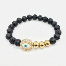 Simple fashion 8MM black LAVA bracelet mysterious CZ blue eyes stretch line beaded bracelet fragrant salad men braceletB084