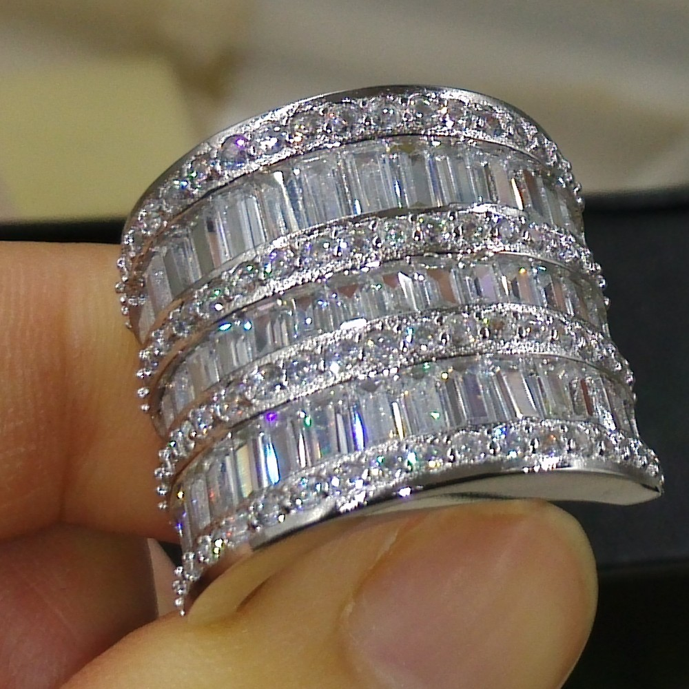 Size 5 11 Luxury Jewelry 925 Sterling Silver Princess Cut 5A White Clear CZ Zirconia Party
