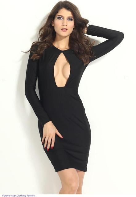 Zr6261 New Fashion Party Dresses Sexy Little Black Long Sleeves Knee