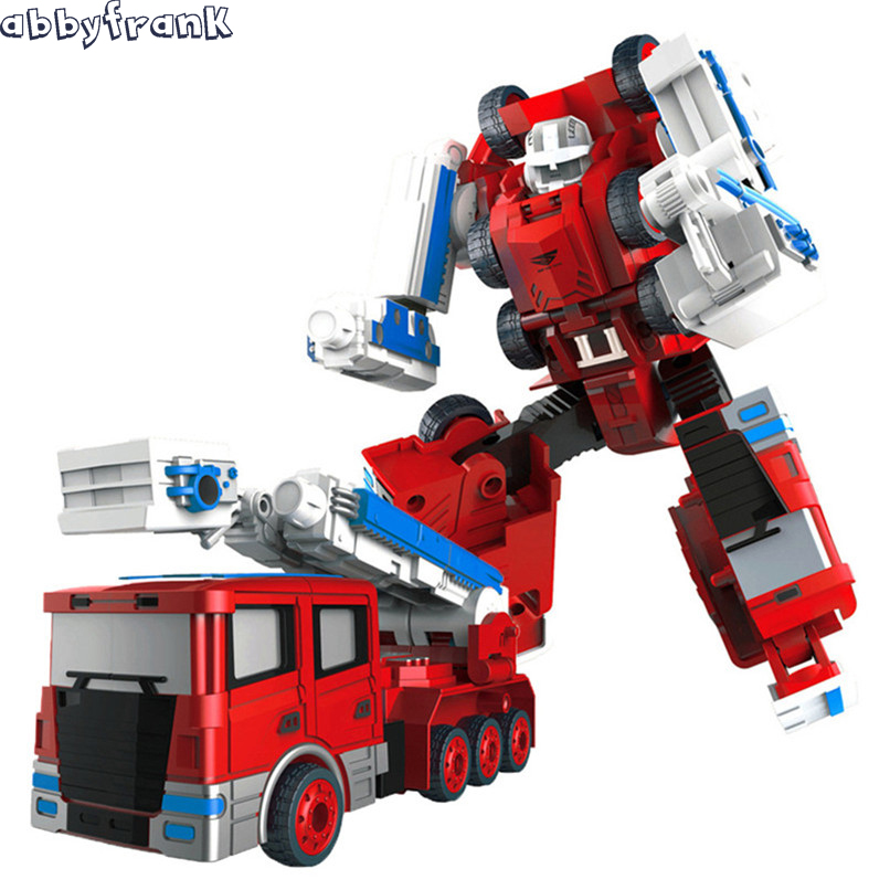 Abbyfrank Transformation Robot Car Excavator Bulldozer Toy Fire Engine Alloy 5 in 1 Model Car Oyuncak Machine Fireman Toys