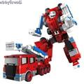 Abbyfrank Transformation Robot Car Excavator Bulldozer Toy Fire Engine Alloy 5 in 1 Model Car Oyuncak Machine Fireman Toys
